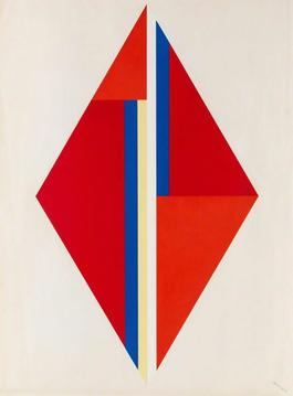 Geometric Composition with Red Diamond