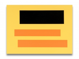 Decal (two yellow bars over red on blue)