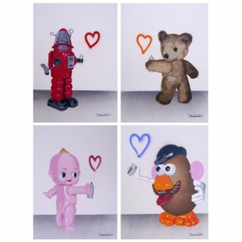 Teddy, Mr Potato Head, Kewpie Doll, Robot