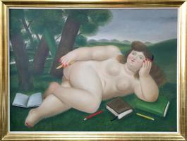 Reclining Nude with Books and Pencils on Lawn