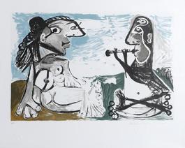 Femme Assise et Joueur de Flute, 1967