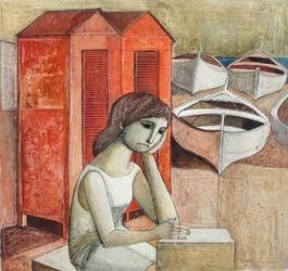 Girl Waiting at Boat Docks