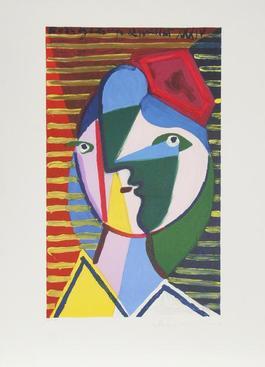 Visage de Femme sur Fond Raye, 1934