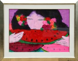 Woman Eating Watermelon