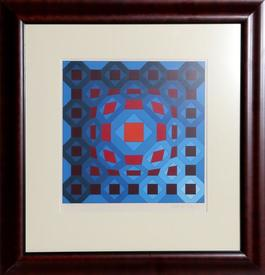Untitled - Red Orb with Blue Squares