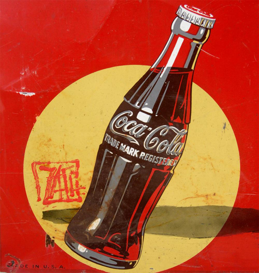 ernest zacharevic boy on vintage 1930 s coca cola sign widewalls. Black Bedroom Furniture Sets. Home Design Ideas