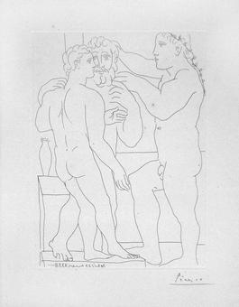 Deux Hommes Sculptes - Three Nude Men Standing