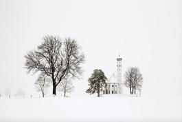 Trees and church (Bavaria), Blizzard 2