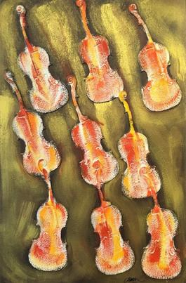 Empreintes de violon orange