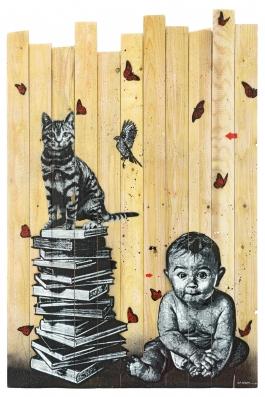 Books, cat, bird and baby