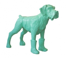 Cloned pistachio dog with plastic boots