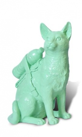 Small cloned pastel green cat with water bottle