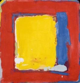 Geel en blauw in rood