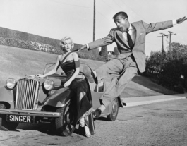 Sammy Davis Jr leaps for Marilyn