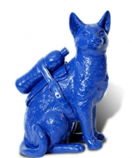 Small cloned Blue cat with water bottle