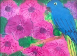 Blue parrot and flowers