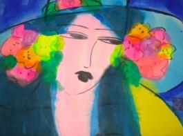 Lady wit blue hat, +