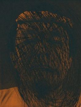 Kopf auf Braun