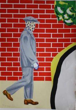 Twee mannen voor bakstenen muur (rechts)
