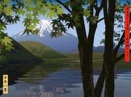 View of lake Kawaguchi with Japanese maple
