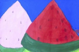 Two pieces of watermelon