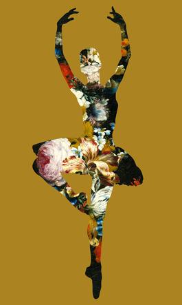 En Dedans Pirouette Avec Des Fleurs (Gold)