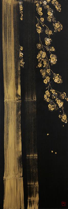 Golden Bamboos, Golden Cherry Branches