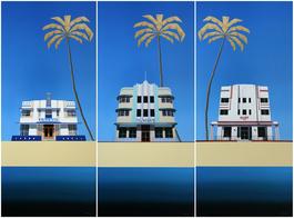 Miami Deco Buildings [Triptych] – Century, The Wave & Surf