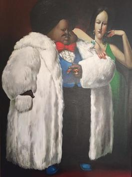 Man in White Fur Coat with Lady in Green
