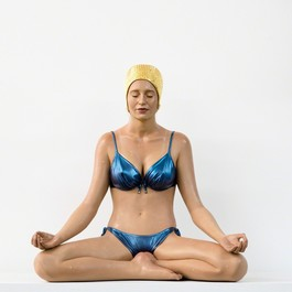 Miniature Balance with Gold Cap and Blue Bathing Suit