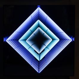 Tableau Néon losange: Turquoise, bleu ciel