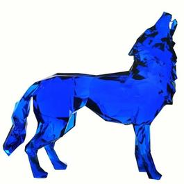 Loup hurlant - Screaming Wolf - blue crystal