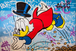 Scrooge Diving Gold Coins Graffiti Background