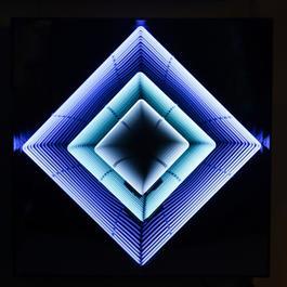 Tableau Neon losange : turquoise / bleu ciel / blanc