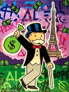 Monopoly holding $ Bag Eiffel