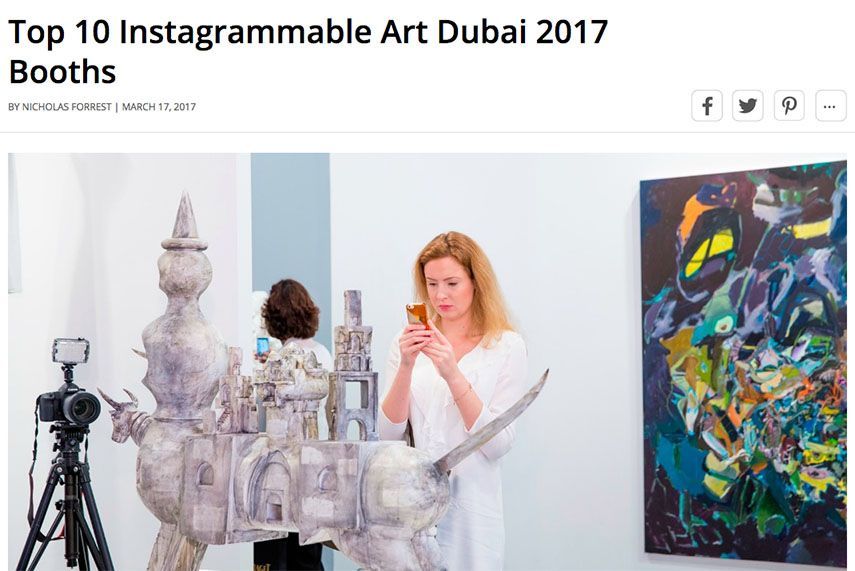 A screenshot of the Top 10 Instagrammable Booths at Art Dubai