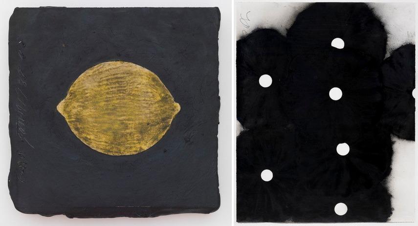 Left Donald Sultan – Lemon Right Donald Sultan - Seven Black Flowers