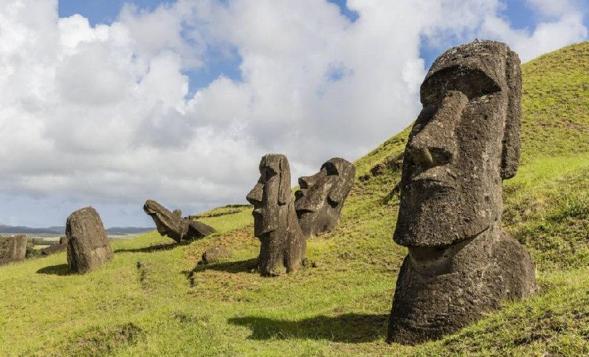 Made famous through books and print, the Easter Island Heads are possibly the most recognizable image of Oceanic art. Photo taken September 2016