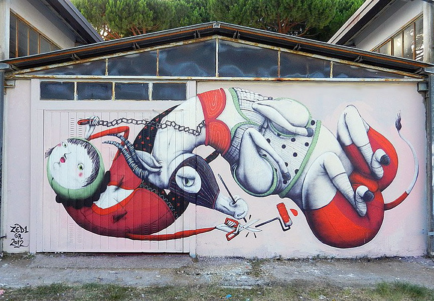 Zed1 is an urban Italian artist known for his surreal murals