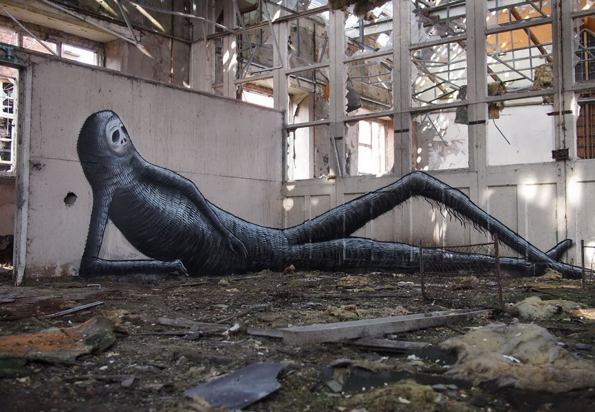 British artist Phlegm is known for his large scale murals that you can also see on his Instagram