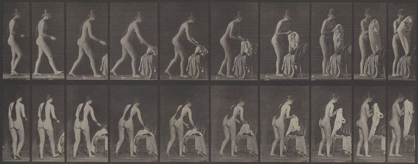 Eadweard Muybridge - Nude Study with Clothes, 1880