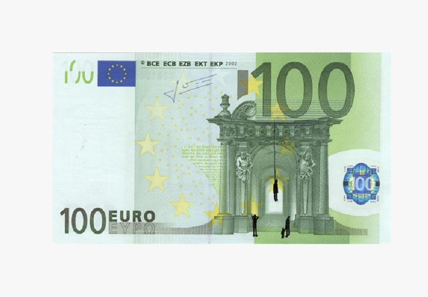 Street artist creates on european money widewalls for Wohnlandschaft 100 euro