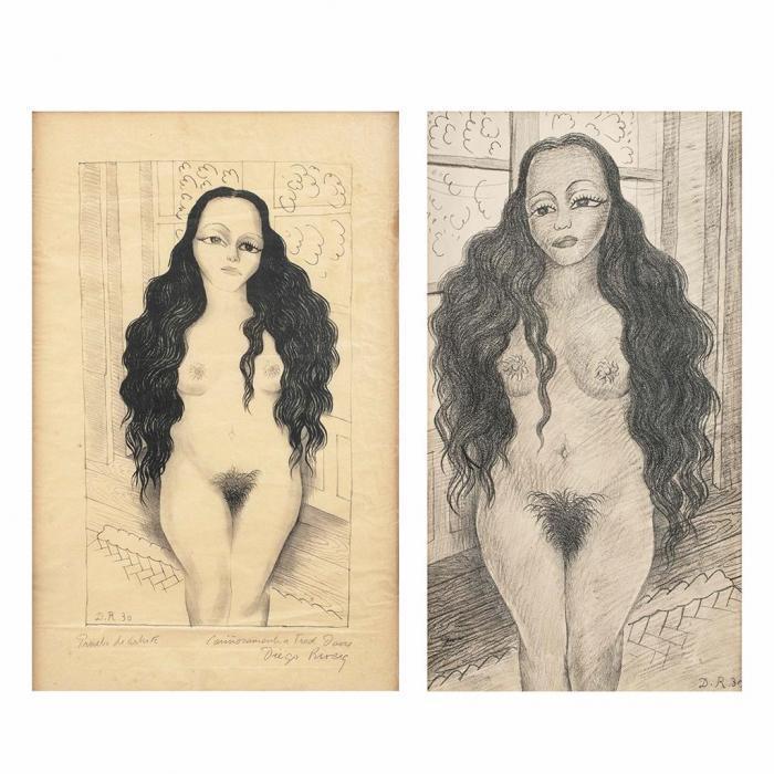 Diego Rivera-(i) Desnudo de Dolores Olmedo; (ii) Desnudo de Dolores Olmedo-1930