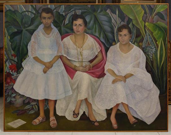 Diego Rivera-Familia Veracruzana con trajes Papantlecas-1957