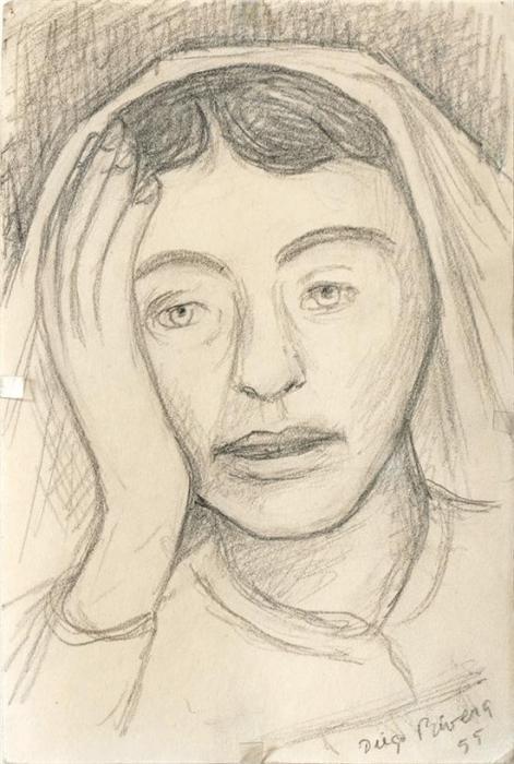 Diego Rivera-Estudio de una enfermera-1955