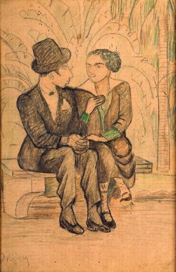 Diego Rivera-Pareja en el parque-
