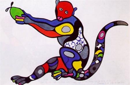 Niki de Saint Phalle-Monkey with green Apple-1995