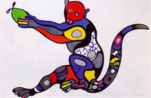 Niki de Saint Phalle-Monkey with green Apple-1995