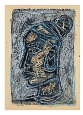 Maqbool Fida Husain-Head of a Woman-1950