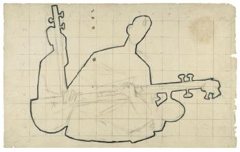 Maqbool Fida Husain-Two Preparatory Drawings for Toys-1950